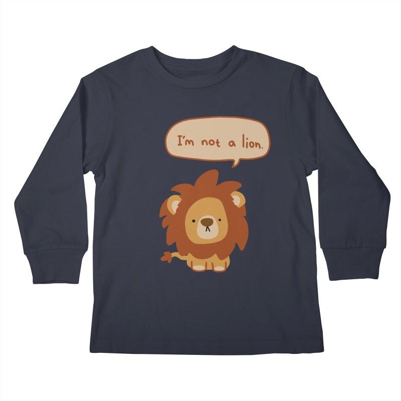 Lyin' Lion Kids Longsleeve T-Shirt by oneweirddude's Artist Shop