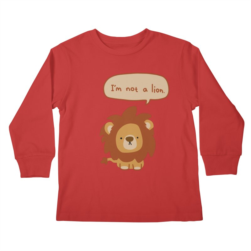 Lyin' Lion Kids Longsleeve T-Shirt by oneweirddude's Artist Shop