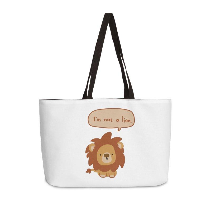 Lyin' Lion Accessories Weekender Bag Bag by oneweirddude's Artist Shop