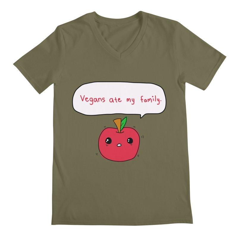 Vegans Ate My Family Men's Regular V-Neck by oneweirddude's Artist Shop