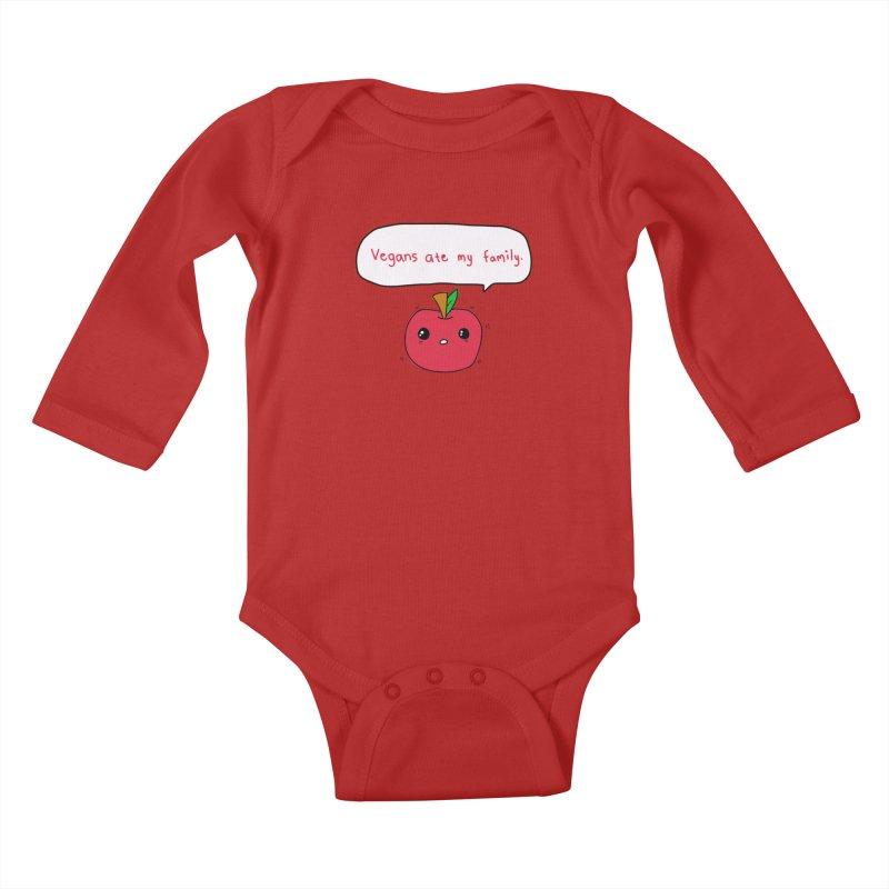 Vegans Ate My Family Kids Baby Longsleeve Bodysuit by oneweirddude's Artist Shop