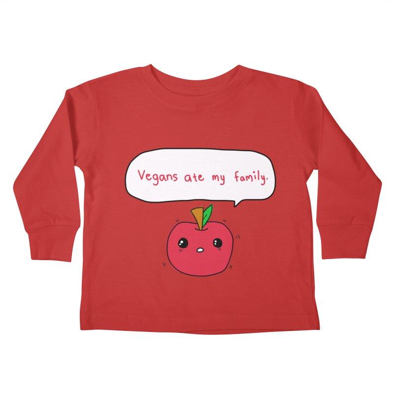 Vegans Ate My Family Kids Toddler Longsleeve T-Shirt by oneweirddude's Artist Shop