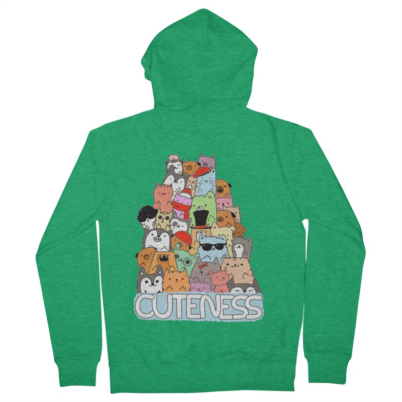 Cuteness Men's French Terry Zip-Up Hoody by oneweirddude's Artist Shop