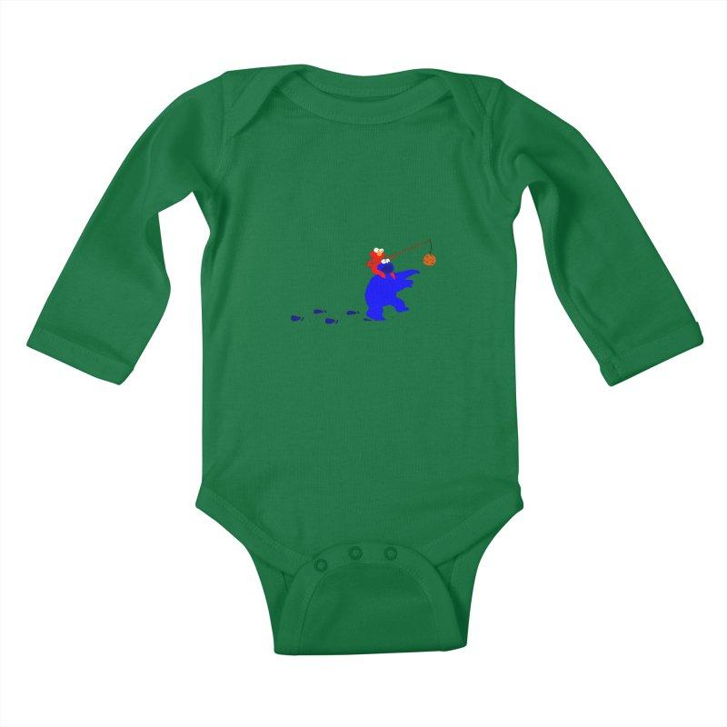 Cookie Monster Zombie v2 Kids Baby Longsleeve Bodysuit by oneweirddude's Artist Shop