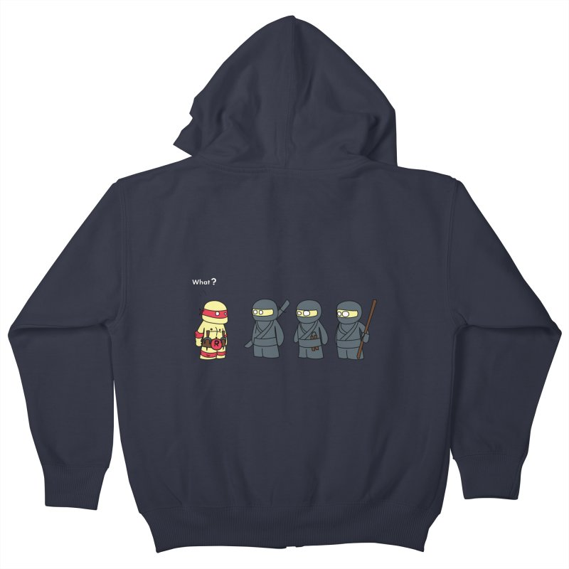 Not Proper Ninja Attire Kids Zip-Up Hoody by oneweirddude's Artist Shop