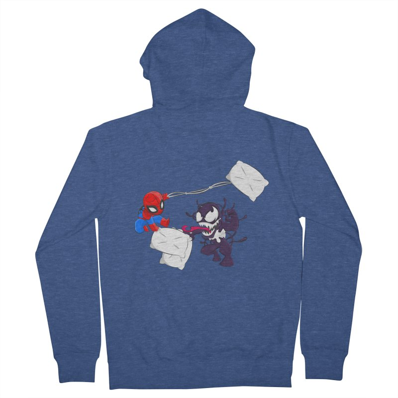 Spiderman and Venom have a Pillow Fight Women's Zip-Up Hoody by oneweirddude's Artist Shop