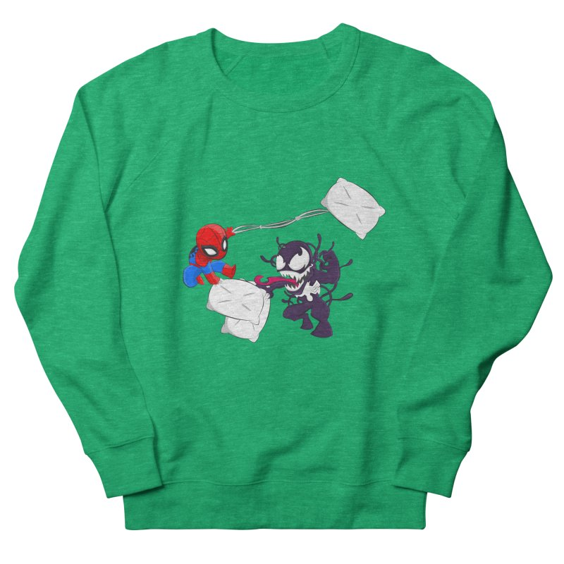 Spiderman and Venom have a Pillow Fight Women's Sweatshirt by oneweirddude's Artist Shop