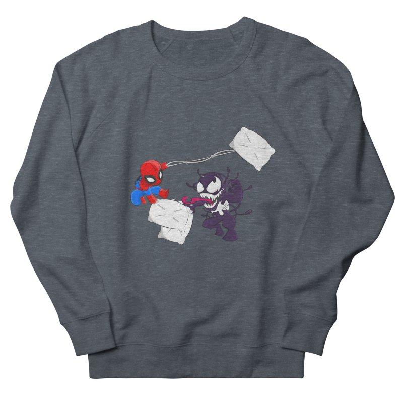 Spiderman and Venom have a Pillow Fight Women's Sweatshirt by oneweirddude's Artist Shop