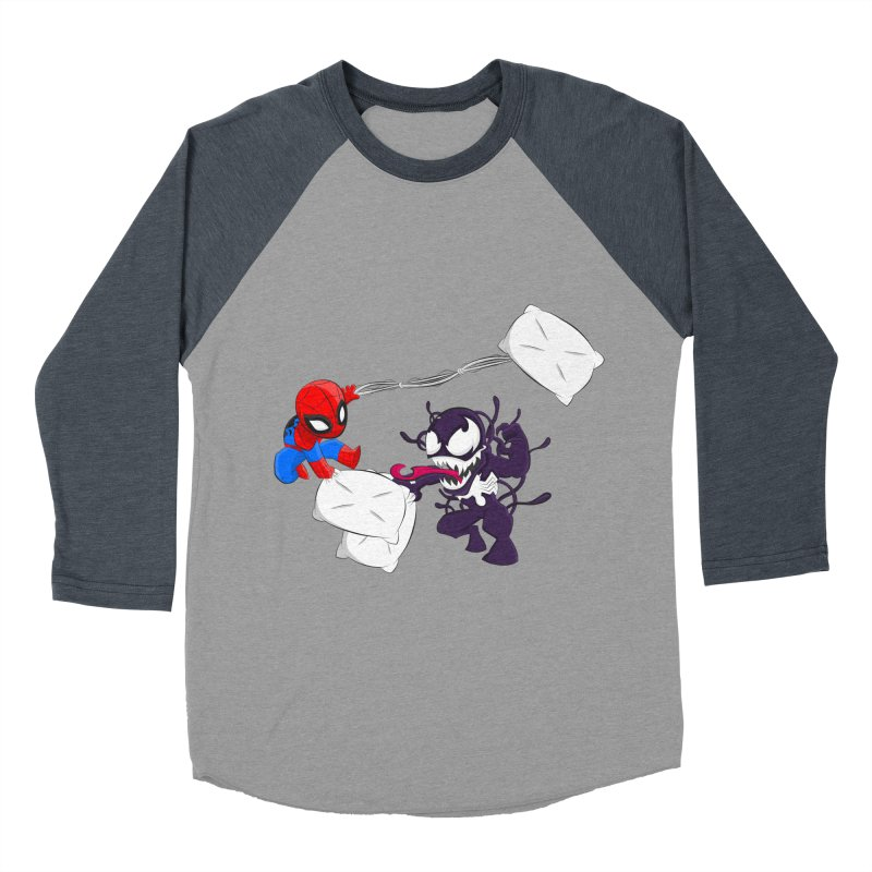 Spiderman and Venom have a Pillow Fight Women's Baseball Triblend T-Shirt by oneweirddude's Artist Shop