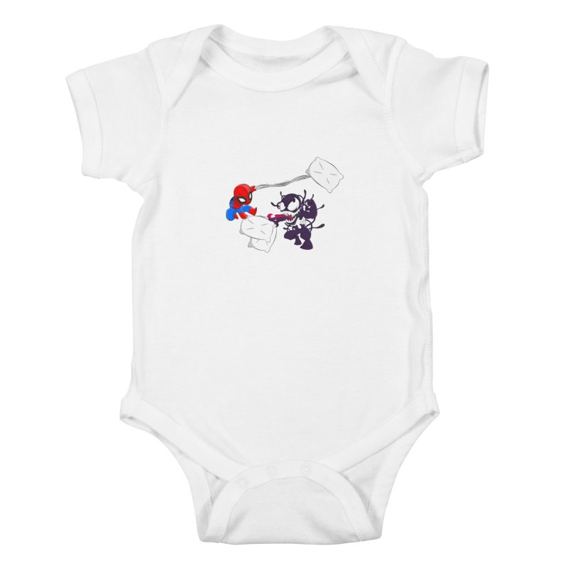 Spiderman and Venom have a Pillow Fight Kids Baby Bodysuit by oneweirddude's Artist Shop