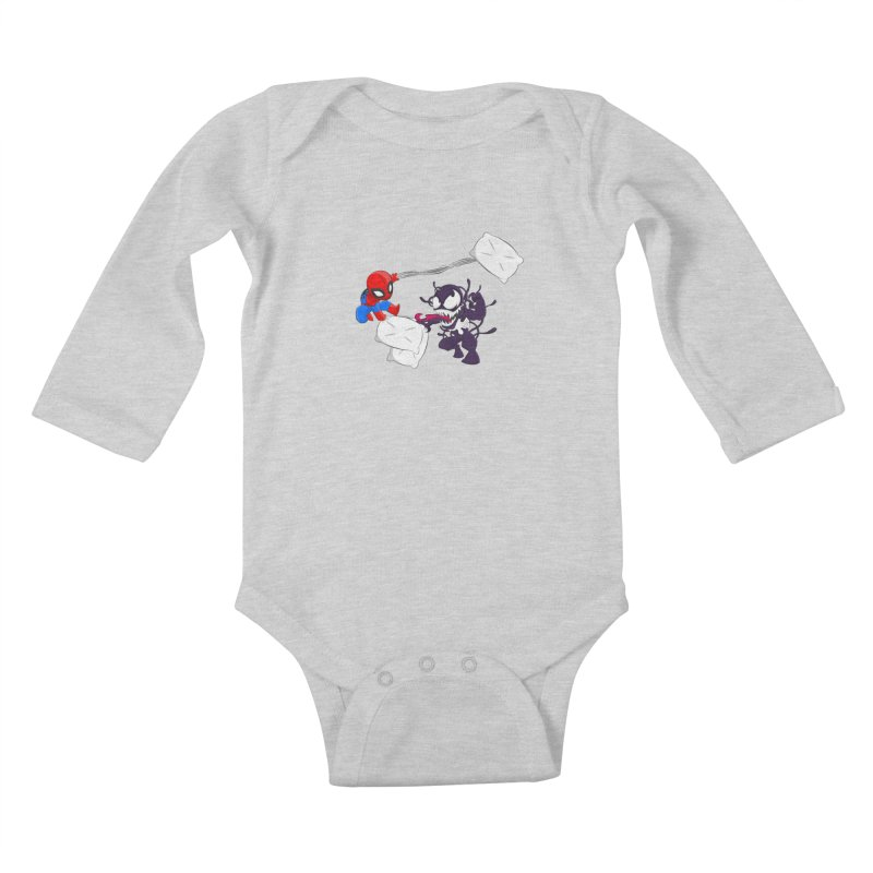 Spiderman and Venom have a Pillow Fight Kids Baby Longsleeve Bodysuit by oneweirddude's Artist Shop