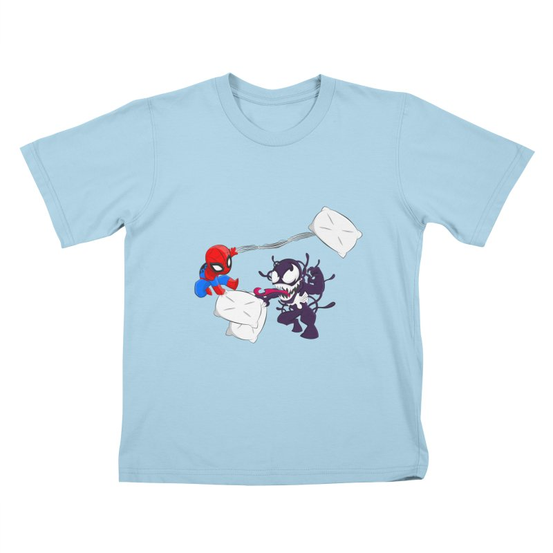 Spiderman and Venom have a Pillow Fight Kids T-shirt by oneweirddude's Artist Shop
