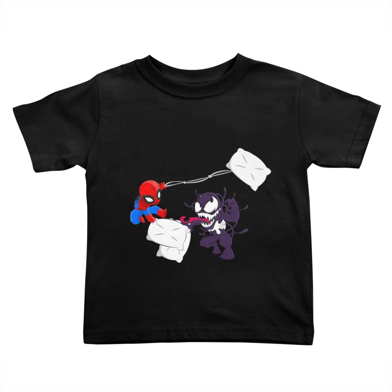 Spiderman and Venom have a Pillow Fight Kids Toddler T-Shirt by oneweirddude's Artist Shop