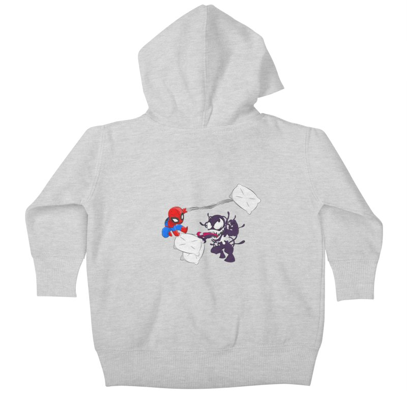 Spiderman and Venom have a Pillow Fight Kids Baby Zip-Up Hoody by oneweirddude's Artist Shop