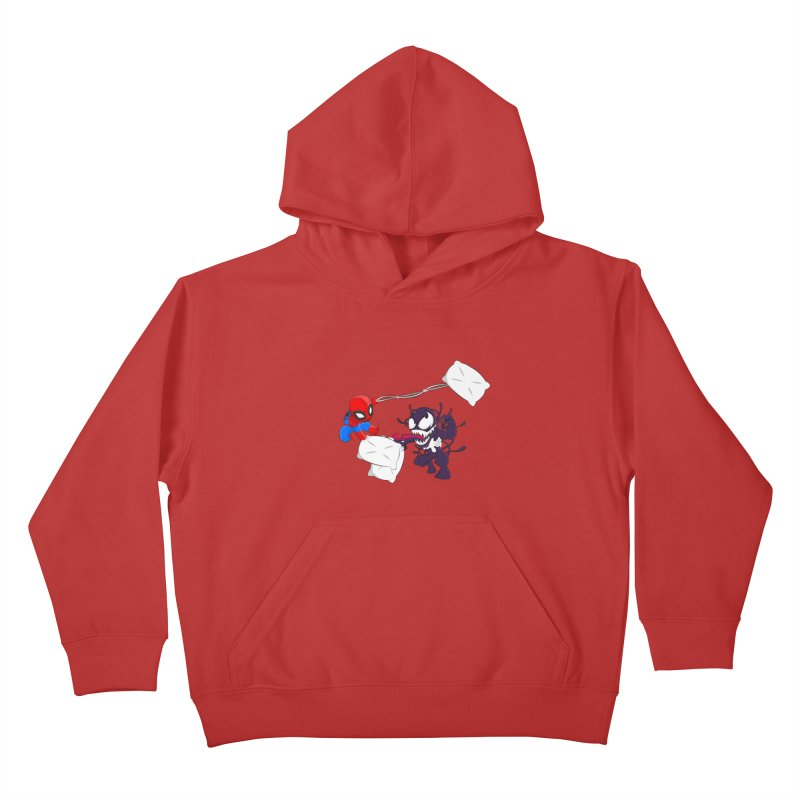 Spiderman and Venom have a Pillow Fight Kids Pullover Hoody by oneweirddude's Artist Shop