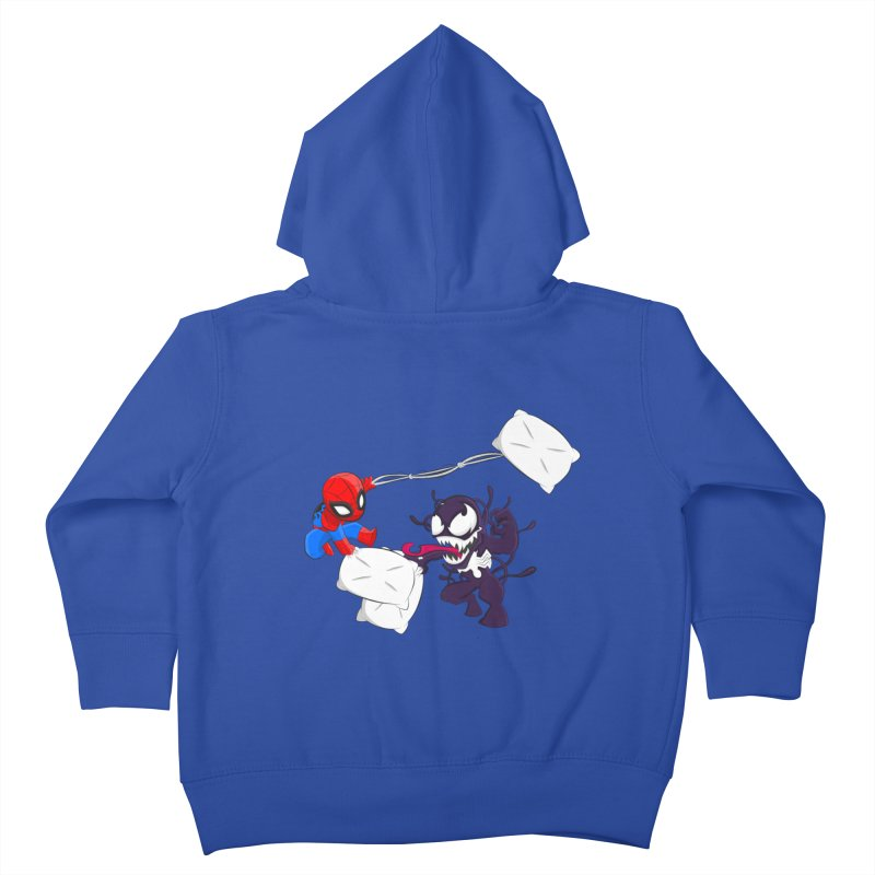 Spiderman and Venom have a Pillow Fight Kids Toddler Zip-Up Hoody by oneweirddude's Artist Shop