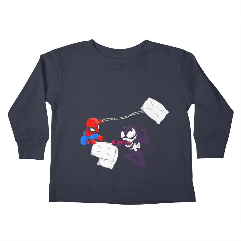 Spiderman and Venom have a Pillow Fight Kids Toddler Longsleeve T-Shirt by oneweirddude's Artist Shop
