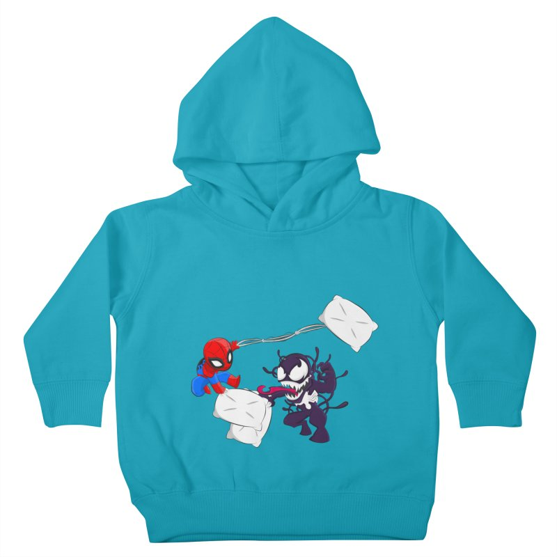 Spiderman and Venom have a Pillow Fight Kids Toddler Pullover Hoody by oneweirddude's Artist Shop