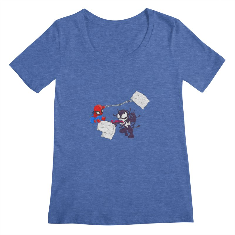 Spiderman and Venom have a Pillow Fight Women's Scoopneck by oneweirddude's Artist Shop