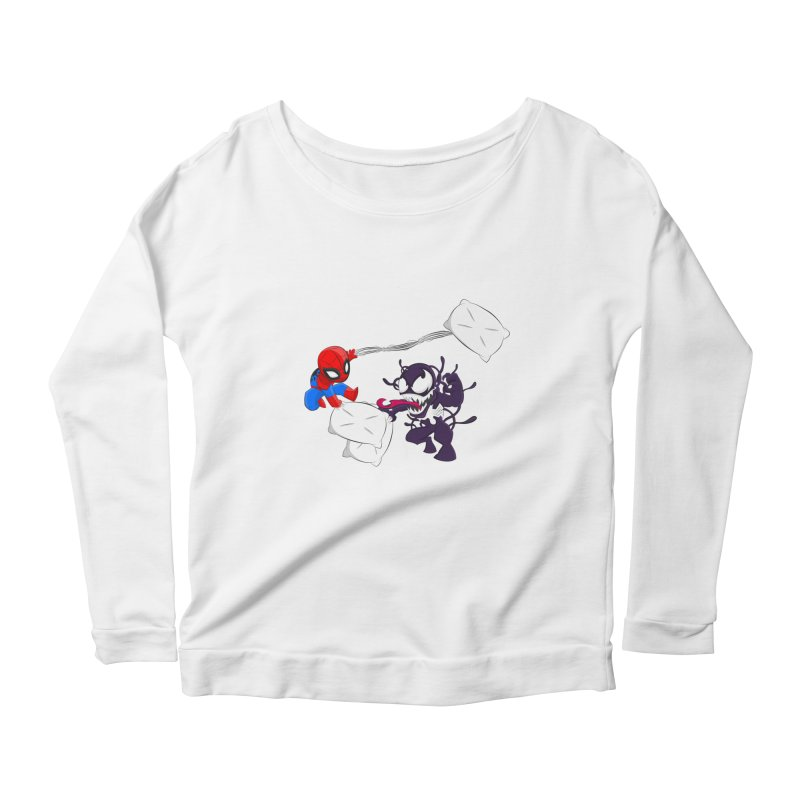 Spiderman and Venom have a Pillow Fight Women's Longsleeve Scoopneck  by oneweirddude's Artist Shop