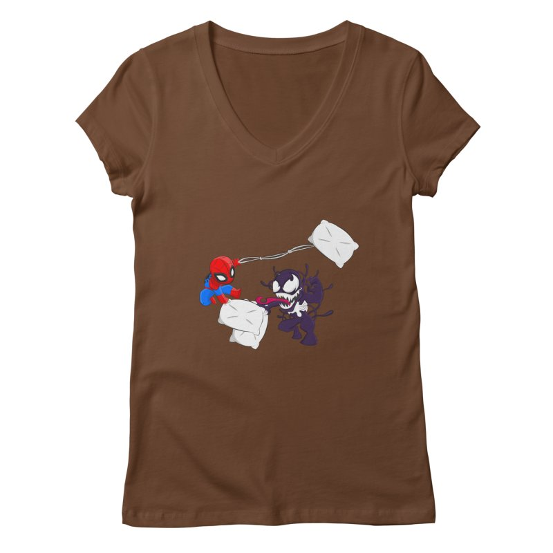 Spiderman and Venom have a Pillow Fight Women's V-Neck by oneweirddude's Artist Shop