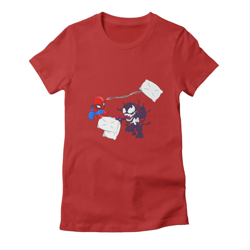 Spiderman and Venom have a Pillow Fight Women's Fitted T-Shirt by oneweirddude's Artist Shop