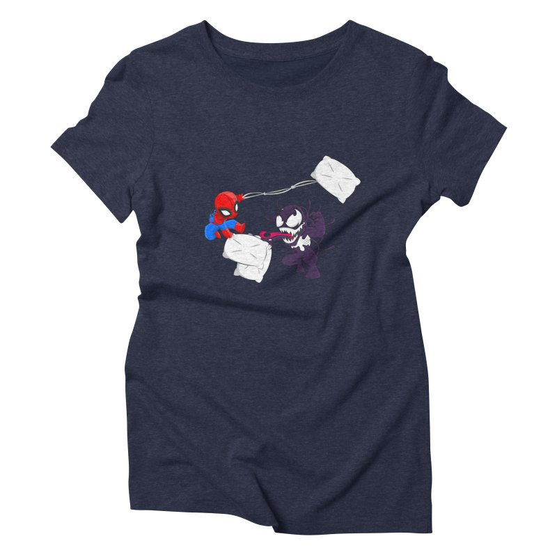 Spiderman and Venom have a Pillow Fight Women's Triblend T-shirt by oneweirddude's Artist Shop