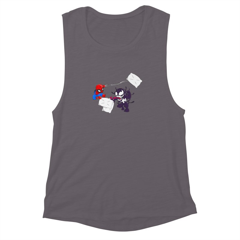 Spiderman and Venom have a Pillow Fight Women's Muscle Tank by oneweirddude's Artist Shop