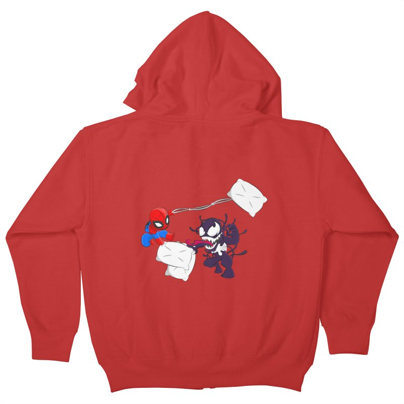 Spiderman and Venom have a Pillow Fight Kids Zip-Up Hoody by oneweirddude's Artist Shop