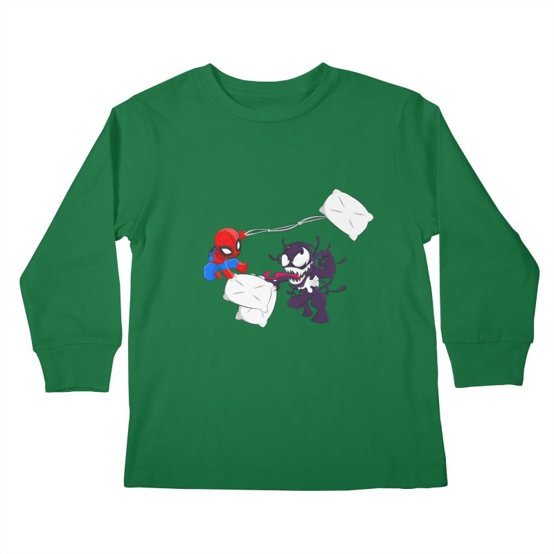 Spiderman and Venom have a Pillow Fight Kids Longsleeve T-Shirt by oneweirddude's Artist Shop