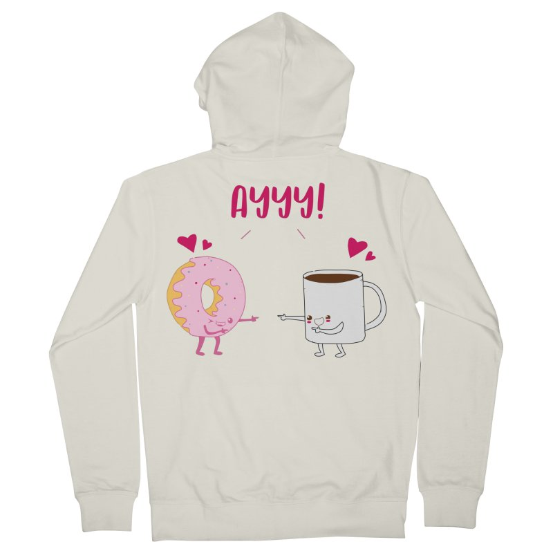 Coffee and Donut Ayyy! Men's French Terry Zip-Up Hoody by oneweirddude's Artist Shop