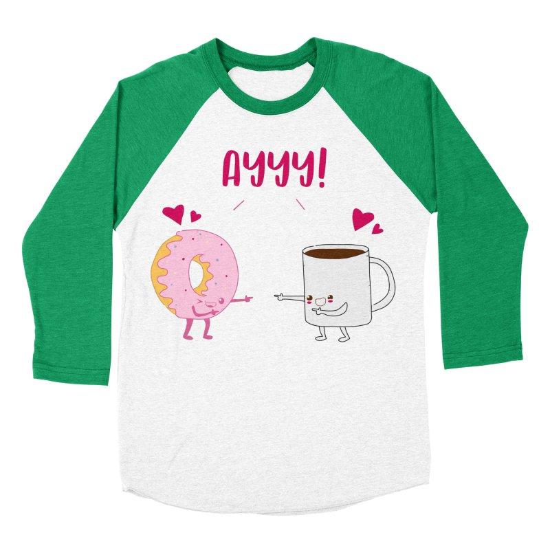 Coffee and Donut Ayyy! Men's Baseball Triblend Longsleeve T-Shirt by oneweirddude's Artist Shop