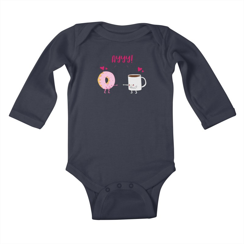 Coffee and Donut Ayyy! Kids Baby Longsleeve Bodysuit by oneweirddude's Artist Shop