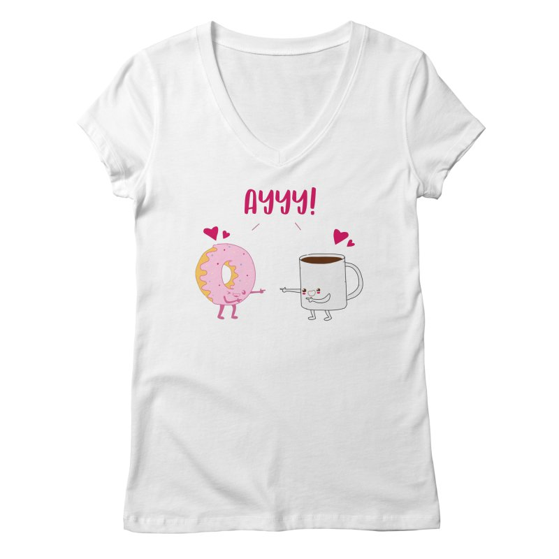 Coffee and Donut Ayyy! Women's Regular V-Neck by oneweirddude's Artist Shop