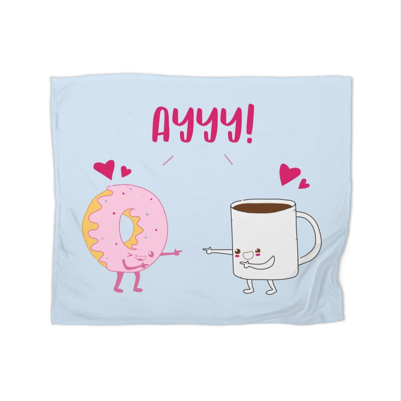 Coffee and Donut Ayyy! Home Fleece Blanket Blanket by oneweirddude's Artist Shop