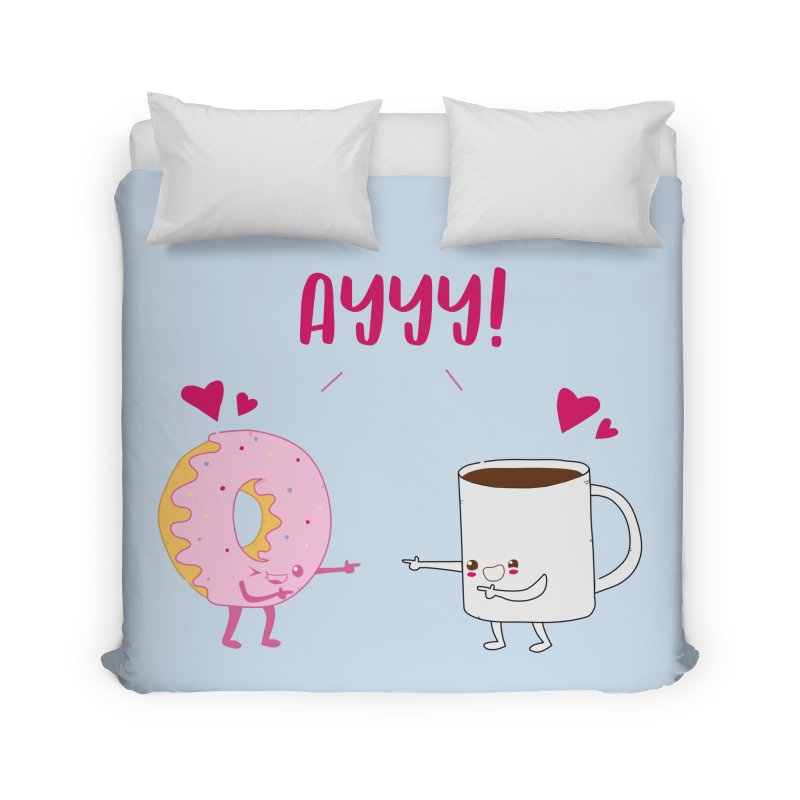 Coffee and Donut Ayyy! Home Duvet by oneweirddude's Artist Shop