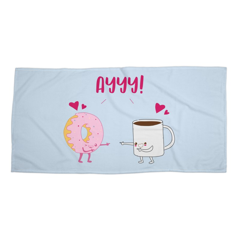 Coffee and Donut Ayyy! Accessories Beach Towel by oneweirddude's Artist Shop