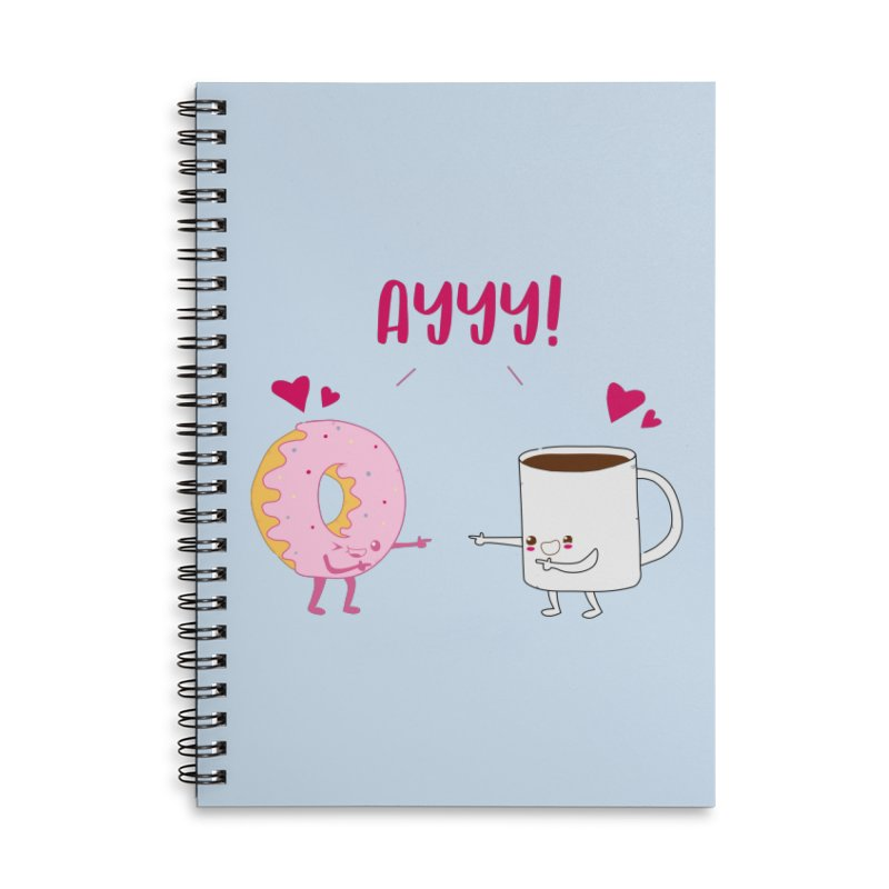Coffee and Donut Ayyy! Accessories Lined Spiral Notebook by oneweirddude's Artist Shop