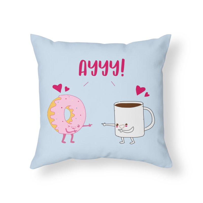 Coffee and Donut Ayyy! Home Throw Pillow by oneweirddude's Artist Shop