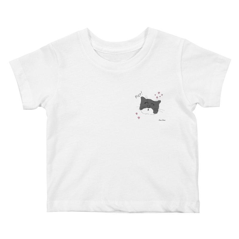 Piepie met hartjes Kids Baby T-Shirt by Oom Dano's Winkeltje