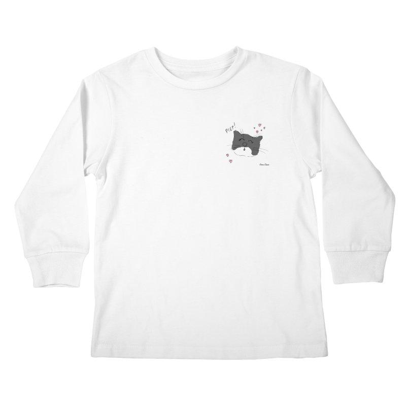 Piepie met hartjes Kids Longsleeve T-Shirt by Oom Dano's Winkeltje