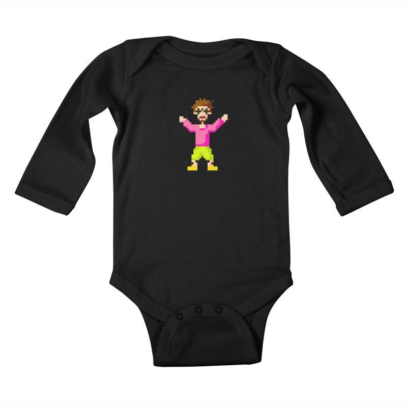 8 Bit Oom Dano Kids Baby Longsleeve Bodysuit by Oom Dano's Winkeltje