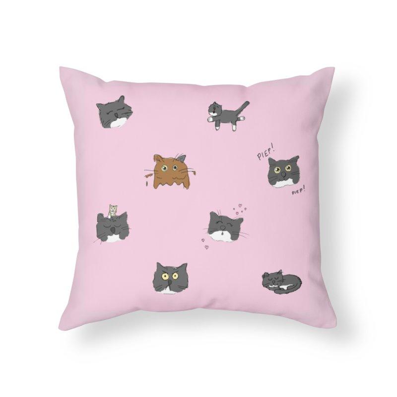 Hoofdjes Home Throw Pillow by Oom Dano's Winkeltje