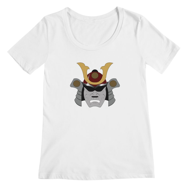 Samurai Helmet (3 of 6 Warrior Collection) Women's Scoopneck by openyourclosedmind Design's Artist Shop