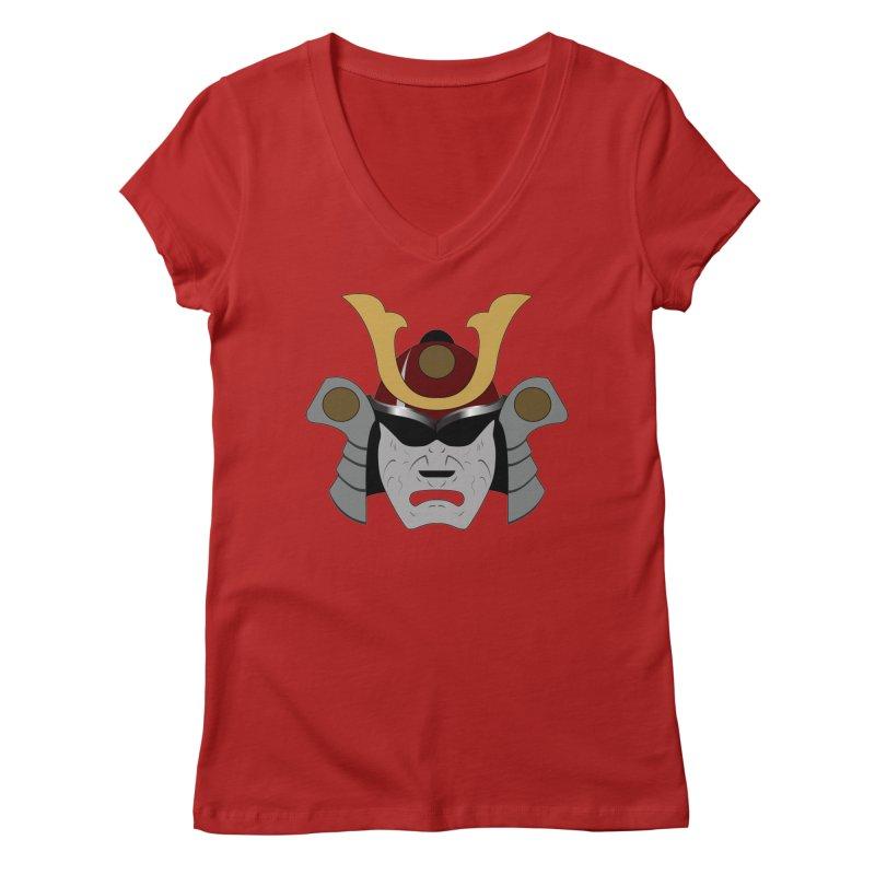 Samurai Helmet (3 of 6 Warrior Collection) Women's V-Neck by openyourclosedmind Design's Artist Shop