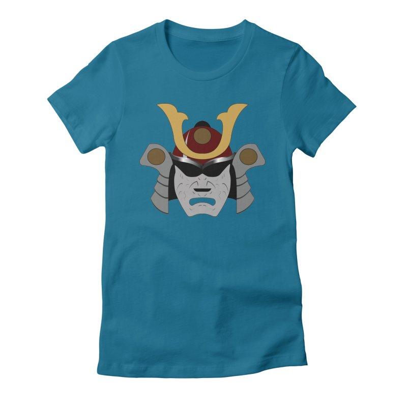 Samurai Helmet (3 of 6 Warrior Collection) Women's Fitted T-Shirt by openyourclosedmind Design's Artist Shop
