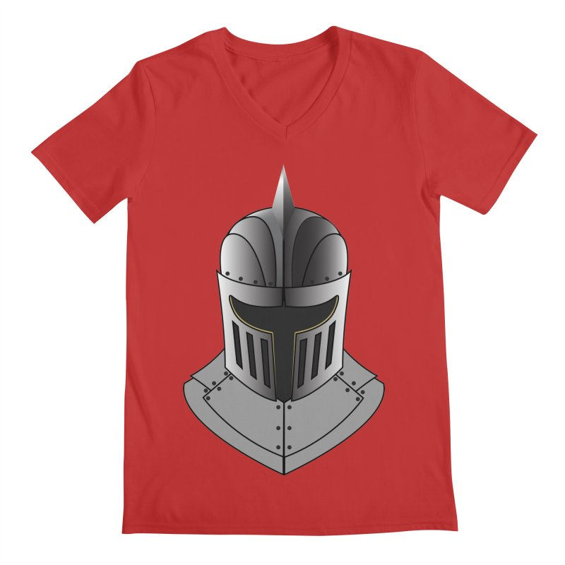 Knight Helmet (4 of 6 Warrior Collection) Men's V-Neck by openyourclosedmind Design's Artist Shop