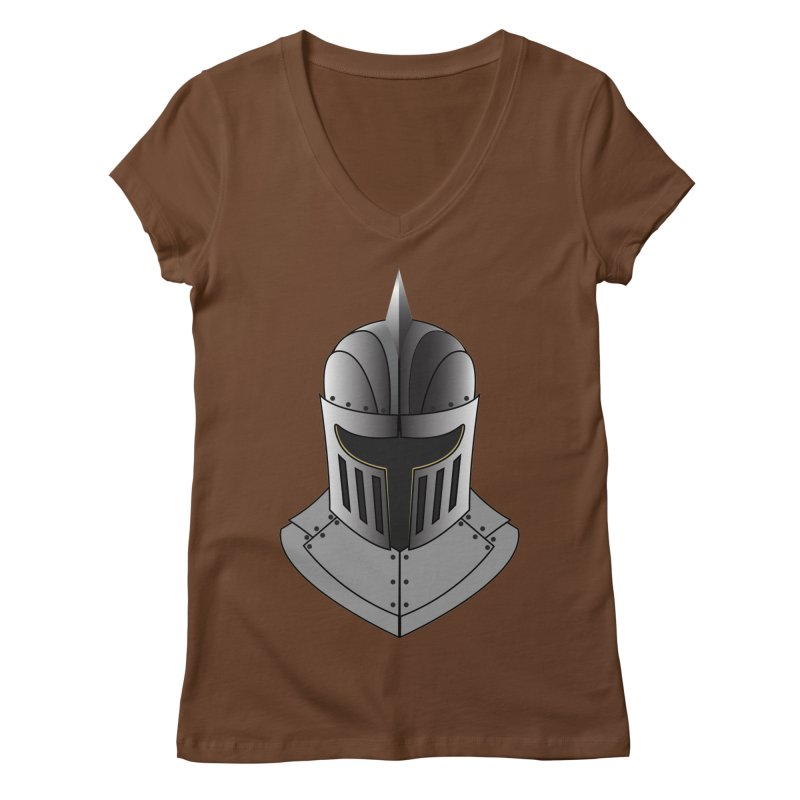 Knight Helmet (4 of 6 Warrior Collection) Women's V-Neck by openyourclosedmind Design's Artist Shop