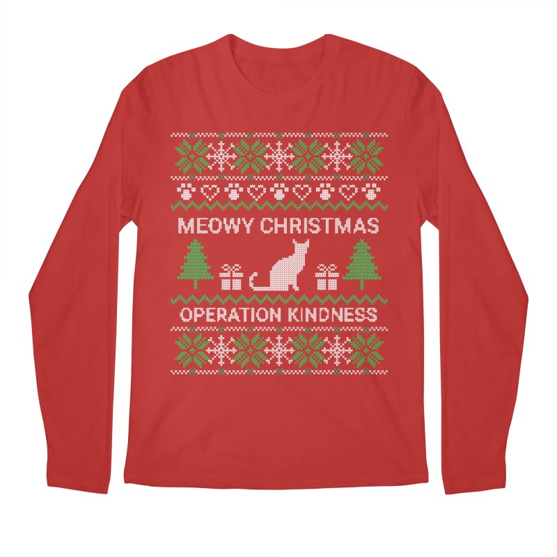 LIMITED EDITION: Holiday Design - Cat in Men's Regular Longsleeve T-Shirt Red by operationkindness's shop