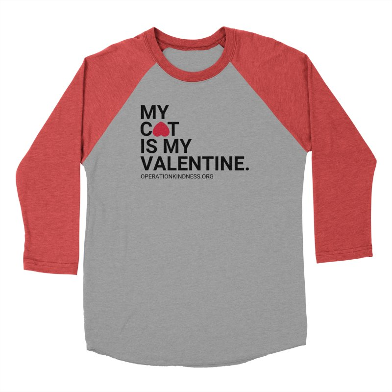 Valentine's Day - Cat in Women's Baseball Triblend Longsleeve T-Shirt Chili Red Sleeves by operationkindness's shop